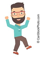 Successful businessman running - A hipster businessman with...