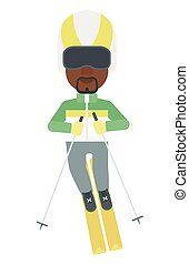 Young man skiing - An african-american man skiing vector...