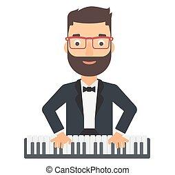 人, 玩, 鋼琴