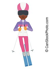 Young woman skiing. - An african-american woman skiing...