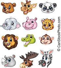 Cartoon wild animal head collection