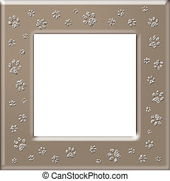 Paw print frame - Frame with cute cat paw print