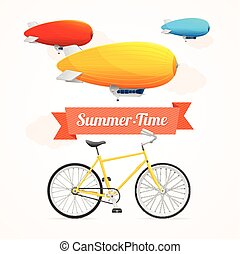 Summer Card Vector - Summer Card with Dirigible and Bike on...