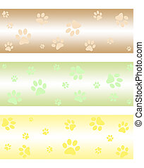 Paw print banners - Banners with cute cat paw print