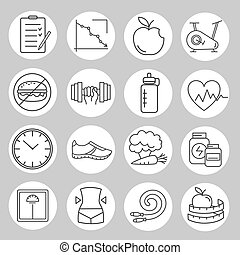 Healthy lifestyle and diet of modern linear icons Set of...