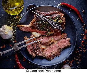 carne, Arriba,  ribeye, cierre, filete,  entrecote