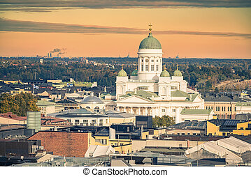 Aerial view on Helsinki, Finland - Aerial view on Cathedral...