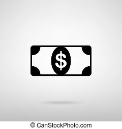 Bank Note dollar sign Black with shadow on gray