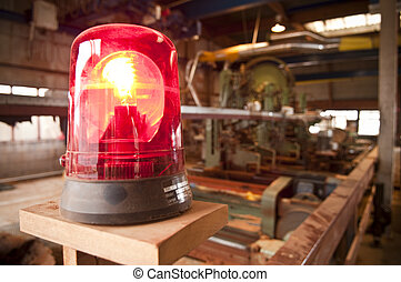 lumber industry - A warning light at a sawmill