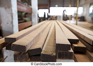 Lumber industry - Sawed lumber at a sawmill