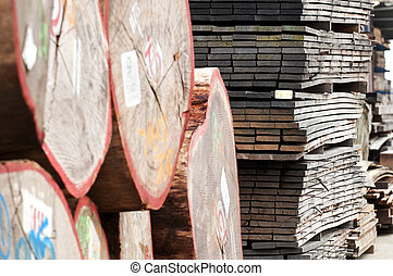 lumber industry - piled up lumber at a sawmill
