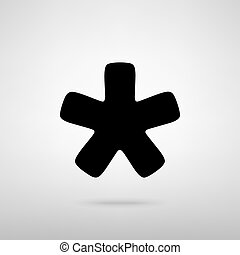 Asterisk star sign. Black with shadow on gray.