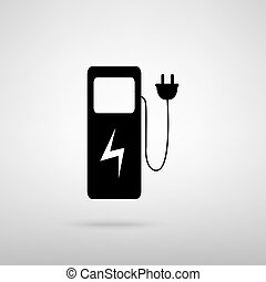 Electric car charging station sign. Black with shadow on...
