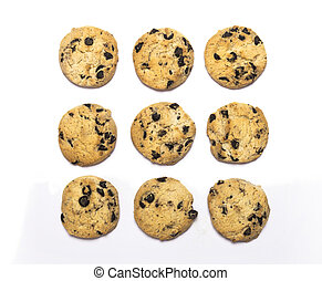 chocolate chip cookies on a white background from above
