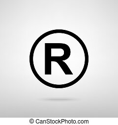 Registered Trademark sign. Black with shadow on gray.