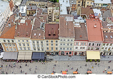 western european city Lviv, architecture background -...