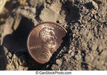 coin on the ground - photographed close-up of an American...