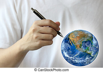 hand write the world, Elements of this image furnished by NASA