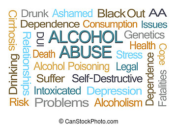 Alcohol Abuse Word Cloud on White Background