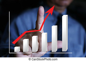 businessman pointing graph chart