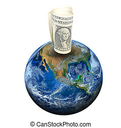dollar banknote on the earth Elements of this image...