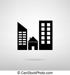 Real estate sign. Black with shadow on gray.