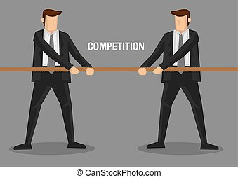 Tug of War Business Concept - Two businessmen in tug of war...