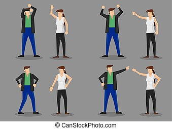 Arguing Couple Character Illustration - Set of four cartoon...
