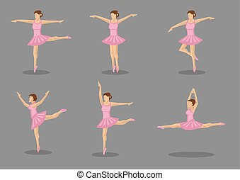 Classical Ballerina Dancer in Pink Tutu - Set of six icons...