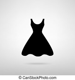 Woman dress sign. Black with shadow on gray.