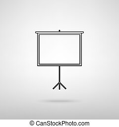 Blank Projection screen. Black with shadow on gray.