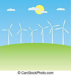 windmill on the field vector illustration cartoon