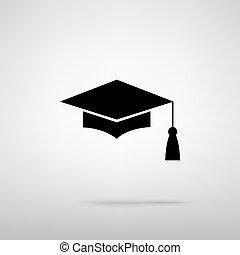Mortar Board or Graduation Cap, Education symbol Black with...