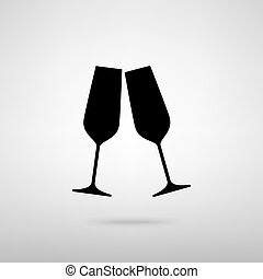 Sparkling champagne glasses. Black with shadow on gray.