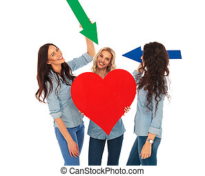 three casual women showing their big heart with arrows