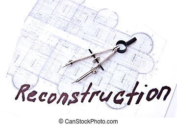 Reconstruction - The drawing tools on technical plans with...