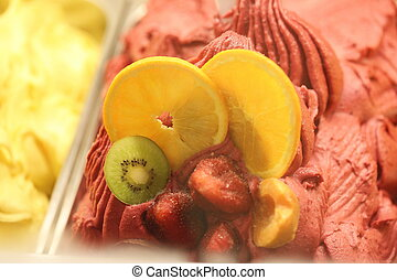 variety fruits ice cream - variety colorful fruits ice cream...