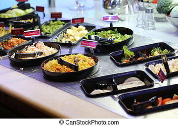 salad bar in restaurant