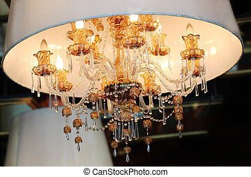 Chrystal chandelier close-up selected focus - Colorful...