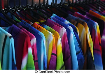 cloth in shop, shirt and dress - colorful cloth in shop,...
