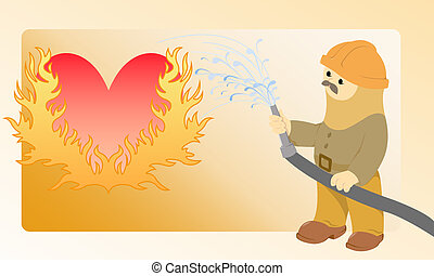 Flaming heart - The moustached firefighter pours water from...