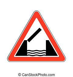 Traffic-Road Sign - Opening or Swing Bridge Ahead in White...