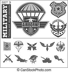 Air Force military emblem set vector design template. Vector...