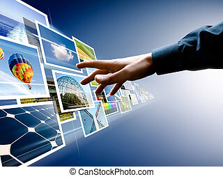 choosing from images stream - hand reaching images streaming...