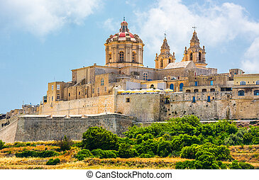 scenic view on Mdina - scenic view on historical town of...