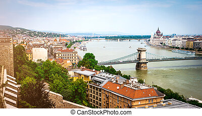 view on Budapest from Buda castle wall - picturesque view on...