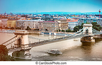 view on Budapest and Danube - beautiful view on Budapest and...