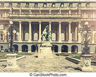 Buda castle courtyard with statue - Buda castle courtyard...