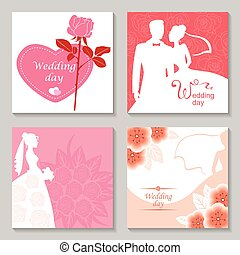Wedding day card set - Vector illustrations of silhouette of...