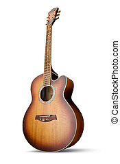 Acoustic guitar - Acoustic cutaway guitar isolated over...